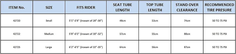 GMC Denali Road Bike Sizes