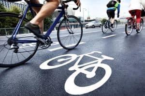 wet asphalt on a bike lane