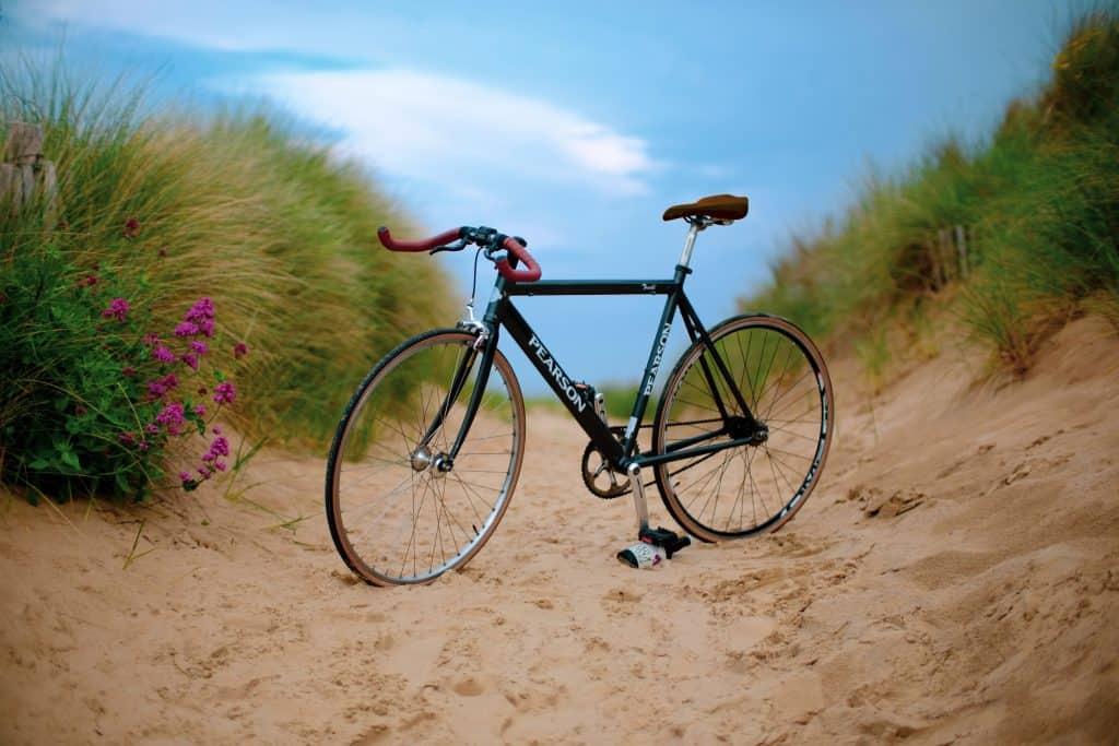 awesome fixie bike on the sand